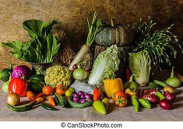 עדיין חיים, ירקות, דשא, ו, fruits.