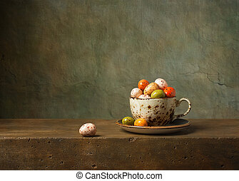 עדיין חיים, עם, ביצים של חג הפסחה של השוקולד