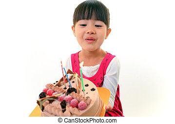 עוגה, קטן, ילדה של יום ההולדת