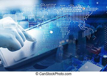 עולם, אישה, קדור, צעיר, מושג, עצב, דיגיטלי, להשתמש, טכנולוגיה