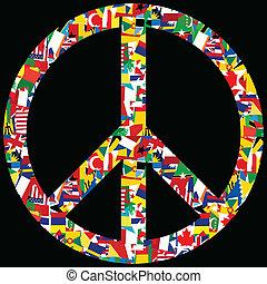 עולם, סמל, שלום, דגלים
