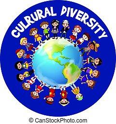 עולם, תרבותי, גוון, מסביב