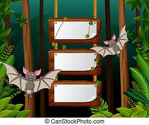 עטלף, פסק, מעץ, טבע, שלושה, שני, עלה, טופס, הבט