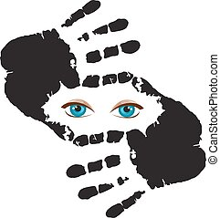 עיניים כחולות, הסגר, הפרד, להסתכל דרך, רקע, ידיים, אתה, לבן