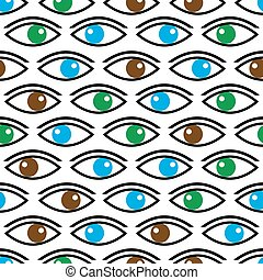 עיניים, eps10, צבע, תבנית, seamless, להסתכל, שונה, אתה