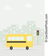 עיר, בית ספר, ציור היתולי, אוטובוס