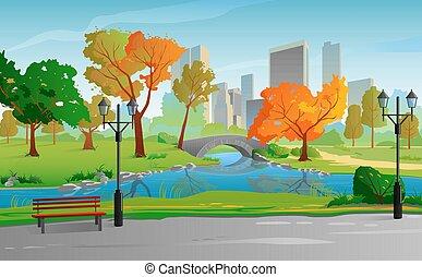 עיר חונה, בהיר, סתו, חם, day., נוף