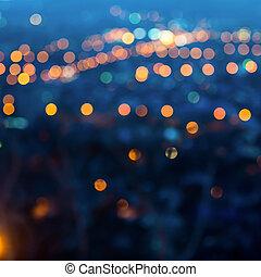 עיר, ערב, לטשטש, רקע, אורות