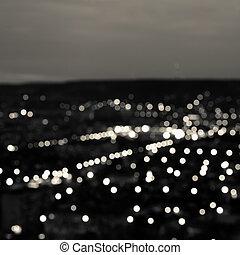 עיר, תקציר, אורות, bokeh, רקע, שחור, אופק, צילום מקרוב, לבן,...