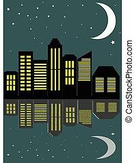 עיר, illustration., דירה, וקטור, לילה, הבט, סיגנון