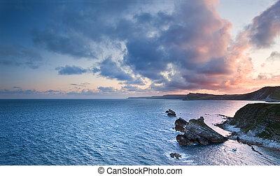 עלית שמש, אוקינוס, נוף, mupe, מיפרץ, ג'אראסיך, חוף, אנגליה