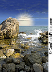 עלית שמש, בים, חוף