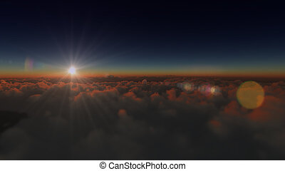 עלית שמש, מעל, ב, עננים