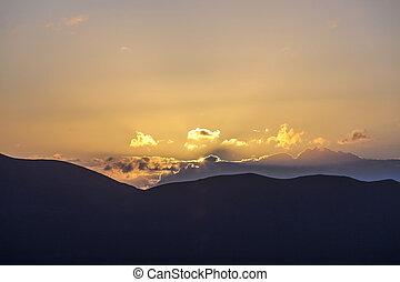 עלית שמש, מעל, ה, וולקני, הרים, ראה, fromplaya, בלאנכה, lanzarote.