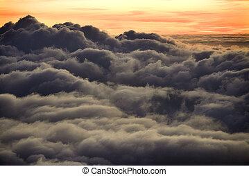 עלית שמש, מעל, עננים, ב, maui.