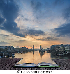 עמודים, הזמן, לונדון, עלית שמש, זריחה, מעל, מגדל, טמס, לבוא, נחל, יפה, גשור, סתו, out, נפול