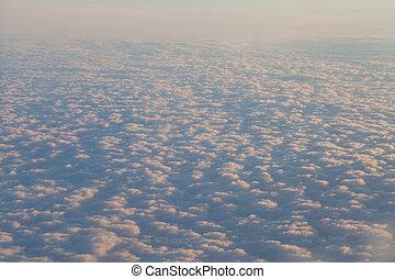עננים, לטוס, שקיעה, מעל, מטוס, נוף