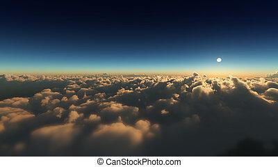 עננים, עלית שמש, מעל