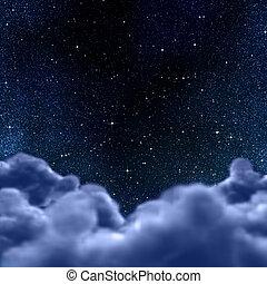עננים, פסק, שמיים, דרך, לילה, או
