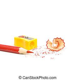 עפרון, חדד, מחדד, shavings., בא