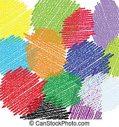 עפרון צבע, עיגולים, רקע
