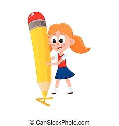עפרון, קטן, ענקי, לכתוב מכתב, ילדה