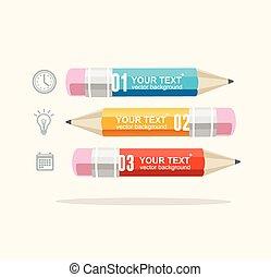 עפרונות, וקטור, עסק, infographics