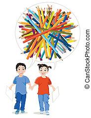 עפרונות, צייר, ילדים, צבע