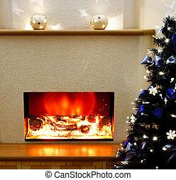 עץ, אח, חשמלי, חג המולד