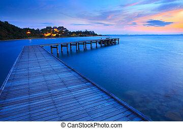 עץ, גשור, שובר גלים, לתוך, כחול, ים, ב, זמן של בוקר