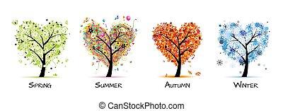 עץ, יפה, -, קפוץ, קיץ, ארבע מתבל, שלך, עצב, אומנות, סתו, winter.