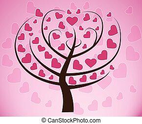 עץ, של, לב