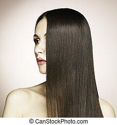 עצב, צילום, של, אישה יפה, עם, נהדר, שיער