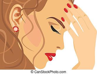 עצוב, דמות, אישה יפה