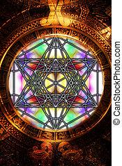 עתיק, geometry., אור, תקציר, מאיאן, merkaba, רקע., קדוש, לוח שנה