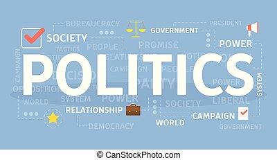 פוליטיקה, מושג, illustration.