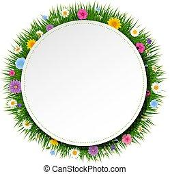 פוסטר, כדור, עם, דשא, ו, פרחים, רקע לבן