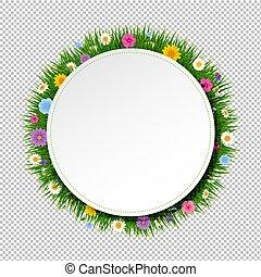 פוסטר, כדור, עם, דשא, ו, פרחים, שקוף, רקע