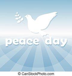 פוסטר, סמל, שלום, יום, עולם, יונה לבנה, צפור
