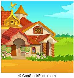 פוסטר, עם, a, נהדר, מלכותי, בית מעץ, ב, a, תחום, עם, דשא ירוק, וכחול, sky., וקטור, ציור היתולי, צילום מקרוב, illustration.