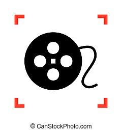 פינות, חתום., התמקד, שחור, לבן, איקון, באקגרו, הסרט, עגול