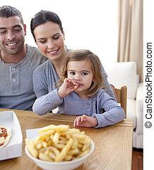 פיצה, בית, ילדה קטנה, יום שישי, לאכול