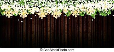 פ.י.ר., זהוב, פתיתות שלג, גירלנדה, מעץ, אורות של נאון, רקע., ענף