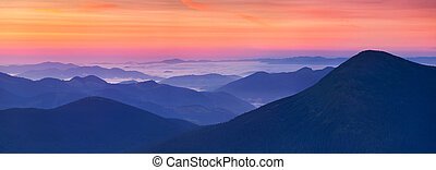 פנורמה, של, עלית שמש, בהרים