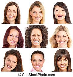 פנים, מחייך, ו, שיניים