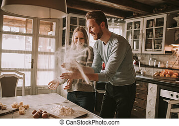 פסטה, קשר, לאהוב, להתכונן, מטבח