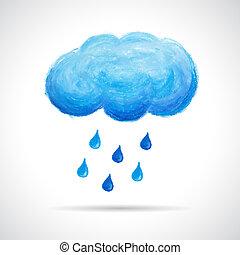 פסטל, שמן, גשם, העבר, ירידות, צייר, ענן, crayon.