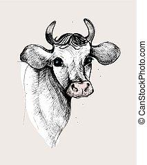 פסטל, cow., צבע, בציר, העבר, וקטור, דמות, צייר, illustration.