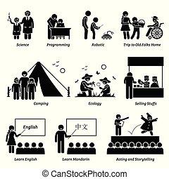 פעילויות, בית ספר, נוסף כארריכאלאר, אקדמי, תכנת, children., העשרה