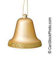 פעמון של זהב, קישוט, רקע., חג המולד לבן